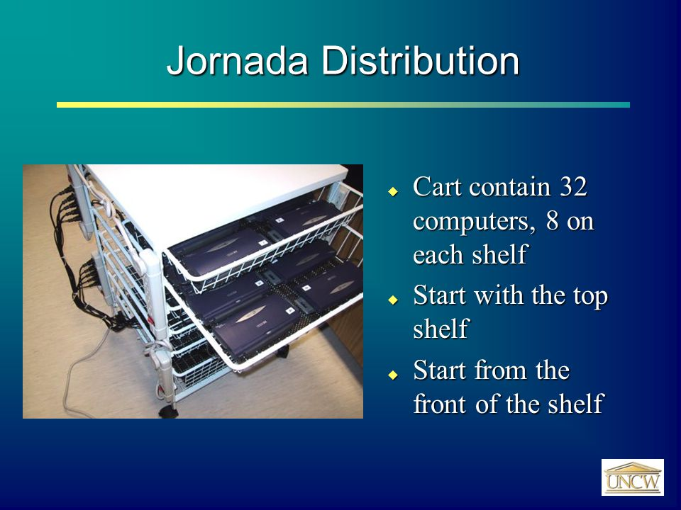 Jornada Distribution  Cart contain 32 computers, 8 on each shelf  Start with the top shelf  Start from the front of the shelf