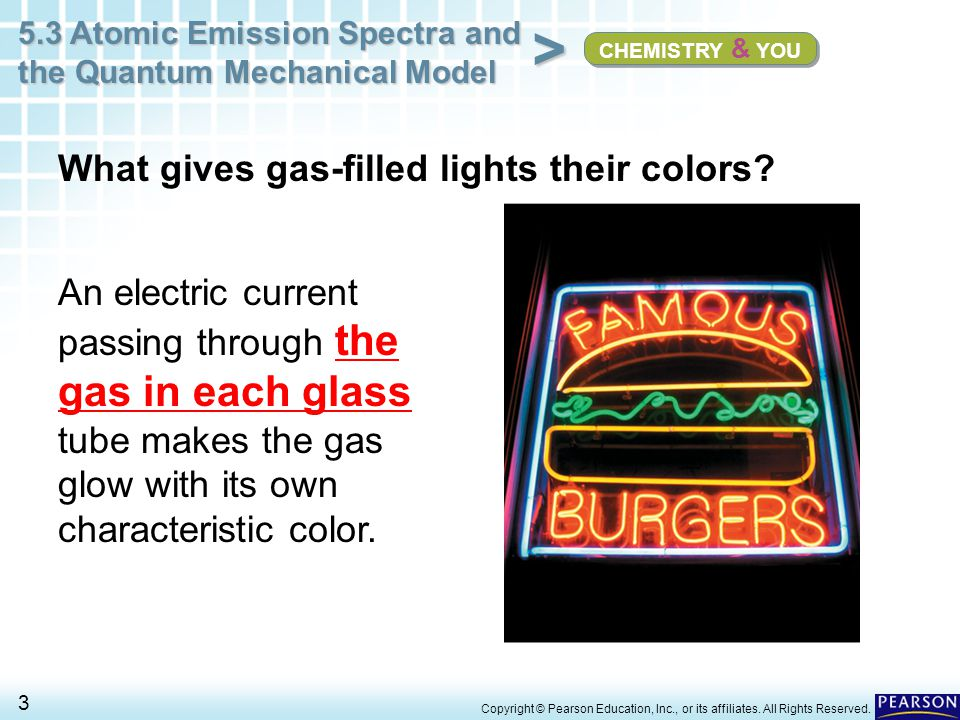 5.3 Atomic Emission Spectra and the Quantum Mechanical Model 54 > Copyright © Pearson Education, Inc., or its affiliates.