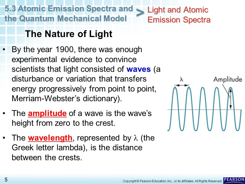 5.3 Atomic Emission Spectra and the Quantum Mechanical Model 5 > Copyright © Pearson Education, Inc., or its affiliates. All Rights Reserved. The Natu