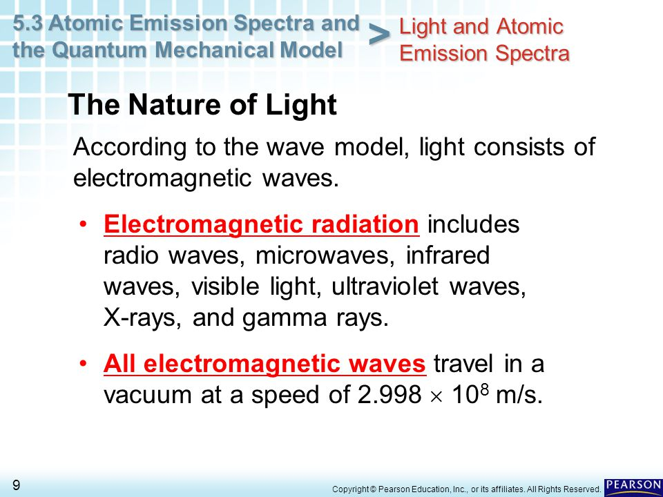 5.3 Atomic Emission Spectra and the Quantum Mechanical Model 9 > Copyright © Pearson Education, Inc., or its affiliates. All Rights Reserved. Accordin