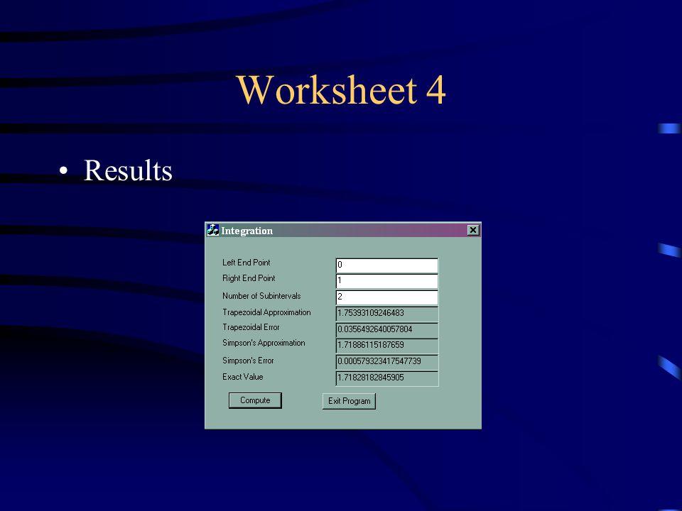 Worksheet 4 Results