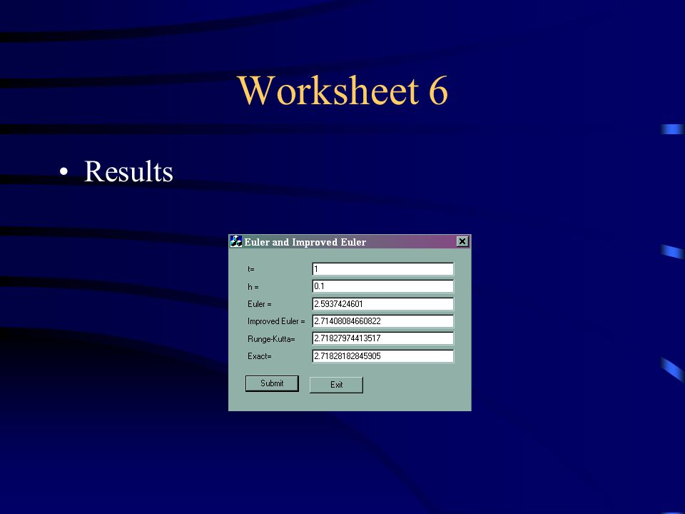 Worksheet 6 Results