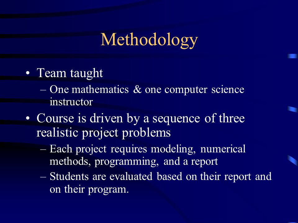 The Problems Realistic problems from the sciences Examples: –Three body problem –Heat flow –Motion under air resistance –Spread of HIV virus through the body –Traffic flow
