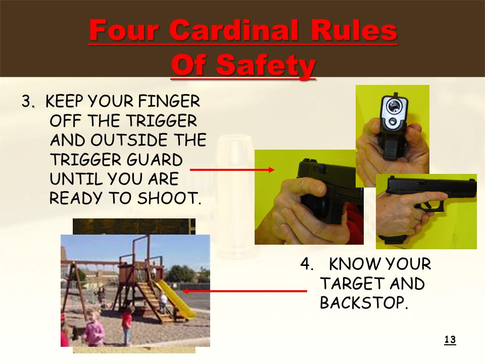 . 3. KEEP YOUR FINGER OFF THE TRIGGER AND OUTSIDE THE TRIGGER GUARD UNTIL YOU ARE READY TO SHOOT. 13 4.KNOW YOUR TARGET AND BACKSTOP. Four Cardinal Ru