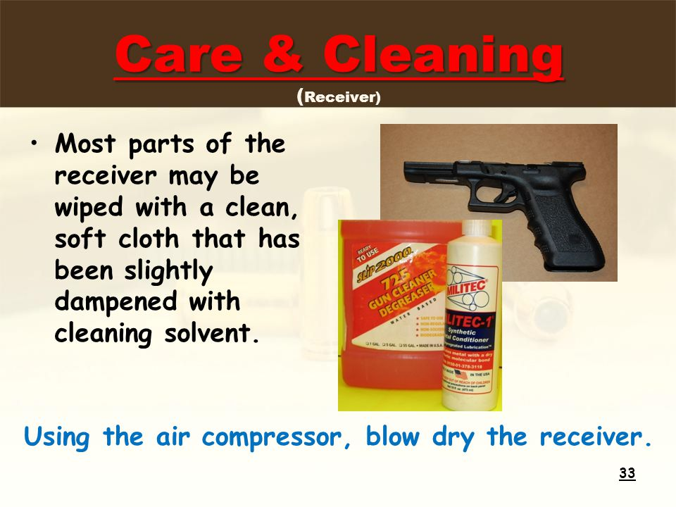 Care & Cleaning Care & Cleaning ( Receiver) Most parts of the receiver may be wiped with a clean, soft cloth that has been slightly dampened with cleaning solvent.