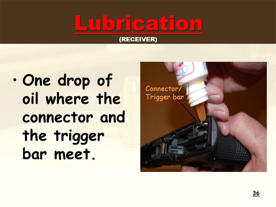 Lubrication Lubrication (RECEIVER) One drop of oil where the connector and the trigger bar meet.