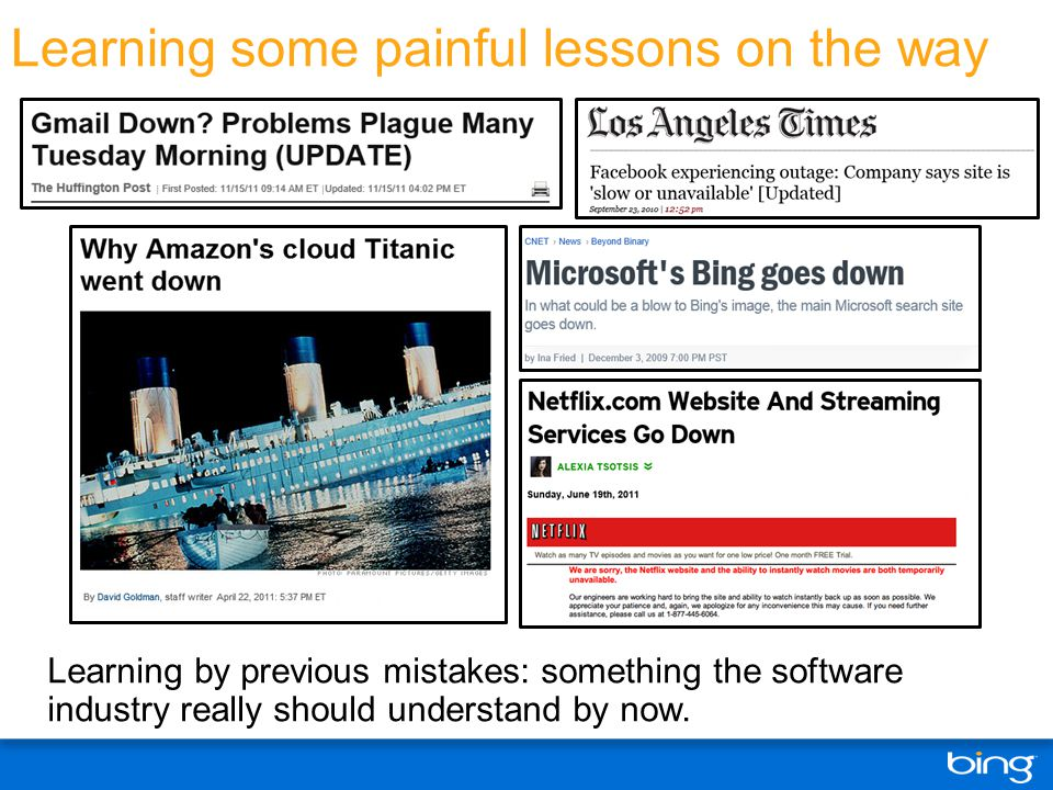 Learning some painful lessons on the way Learning by previous mistakes: something the software industry really should understand by now.