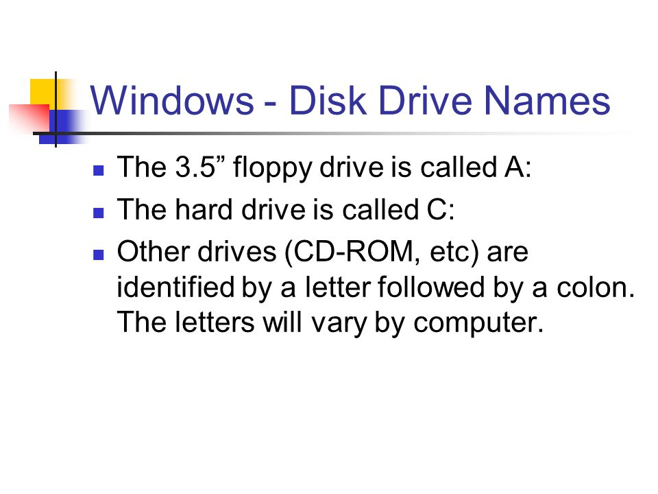 "Windows - Disk Drive Names The 3.5"" floppy drive is called A: The hard drive is called C: Other drives (CD-ROM, etc) are identified by a letter follow"