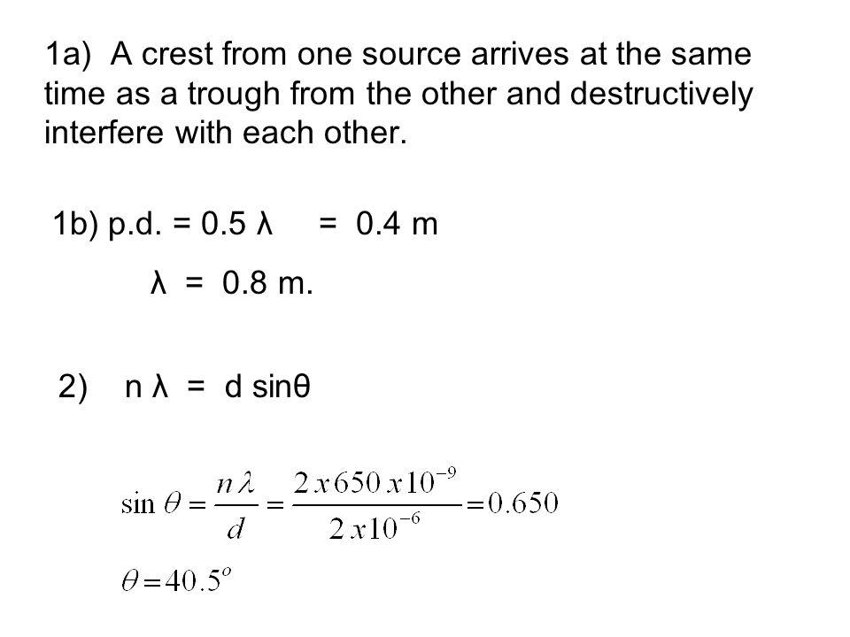 3a) v glass = v air /ŋ = 3 x 10 8 / 1.5 = 2.0 x 10 8 ms -1 b) λ glass = λ air / 1.5 = 450 / 1.5 = 300 nm.