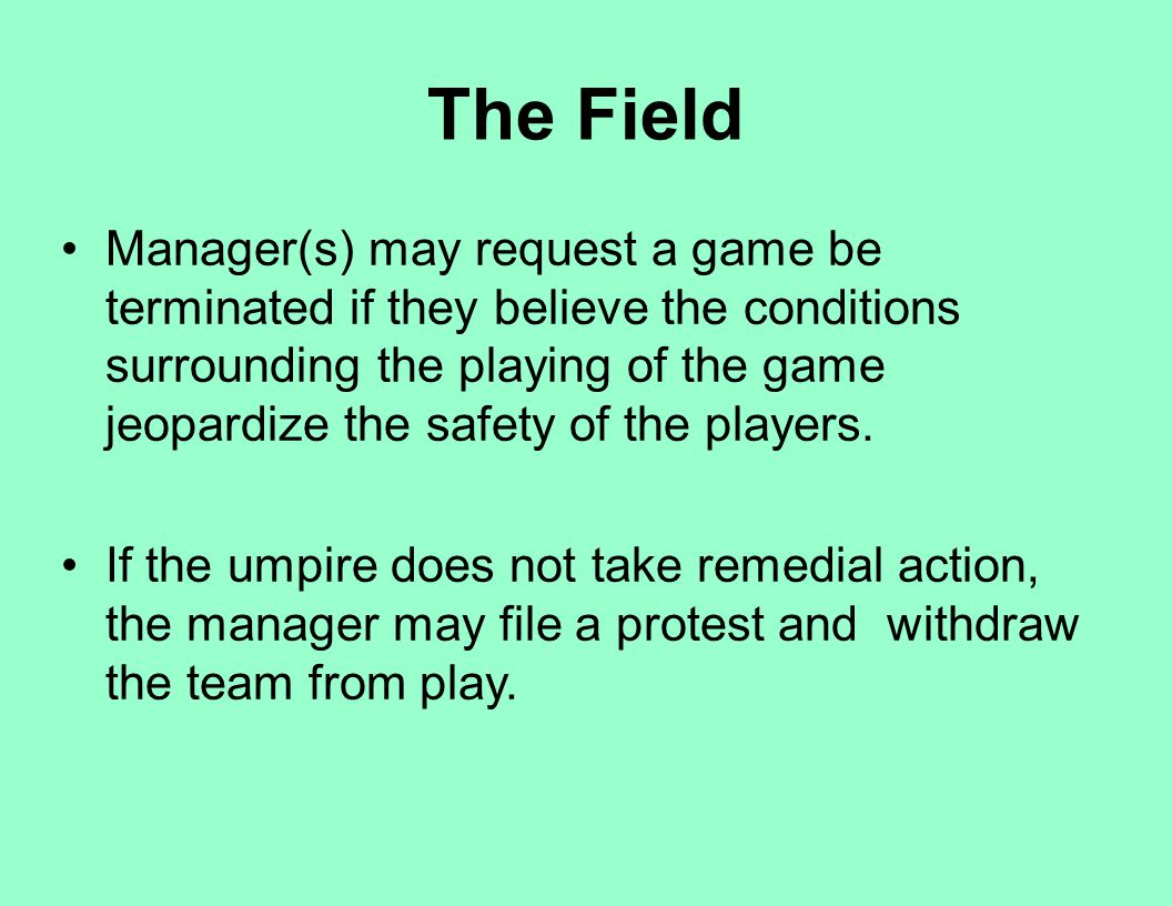 The Field Manager(s) may request a game be terminated if they believe the conditions surrounding the playing of the game jeopardize the safety of the