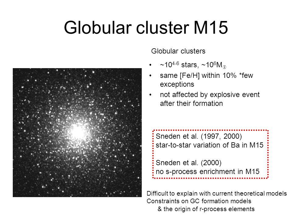 Globular cluster M15 ~10 4-6 stars, ~10 6 M  same [Fe/H] within 10% *few exceptions not affected by explosive event after their formation Globular clusters Sneden et al.