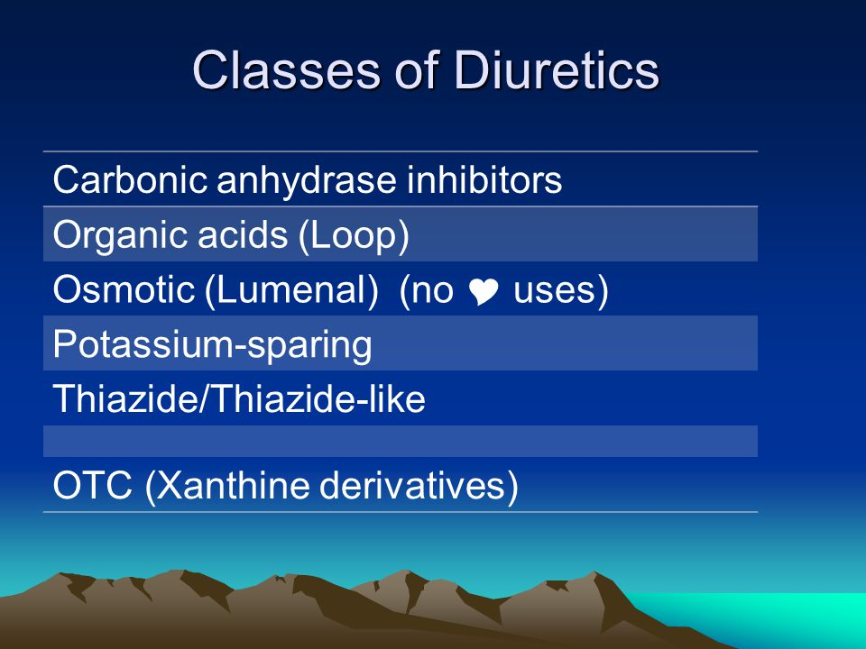Classes of Diuretics Carbonic anhydrase inhibitors Organic acids (Loop) Osmotic (Lumenal) (no  uses) Potassium-sparing Thiazide/Thiazide-like OTC (Xa
