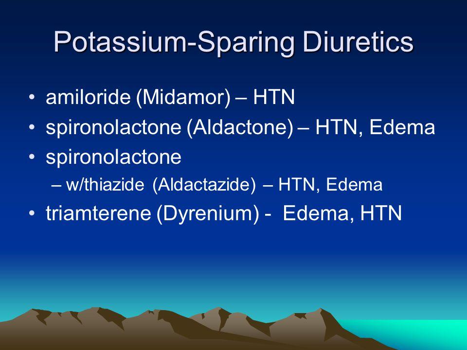Potassium-Sparing Diuretics amiloride (Midamor) – HTN spironolactone (Aldactone) – HTN, Edema spironolactone –w/thiazide (Aldactazide) – HTN, Edema triamterene (Dyrenium) - Edema, HTN