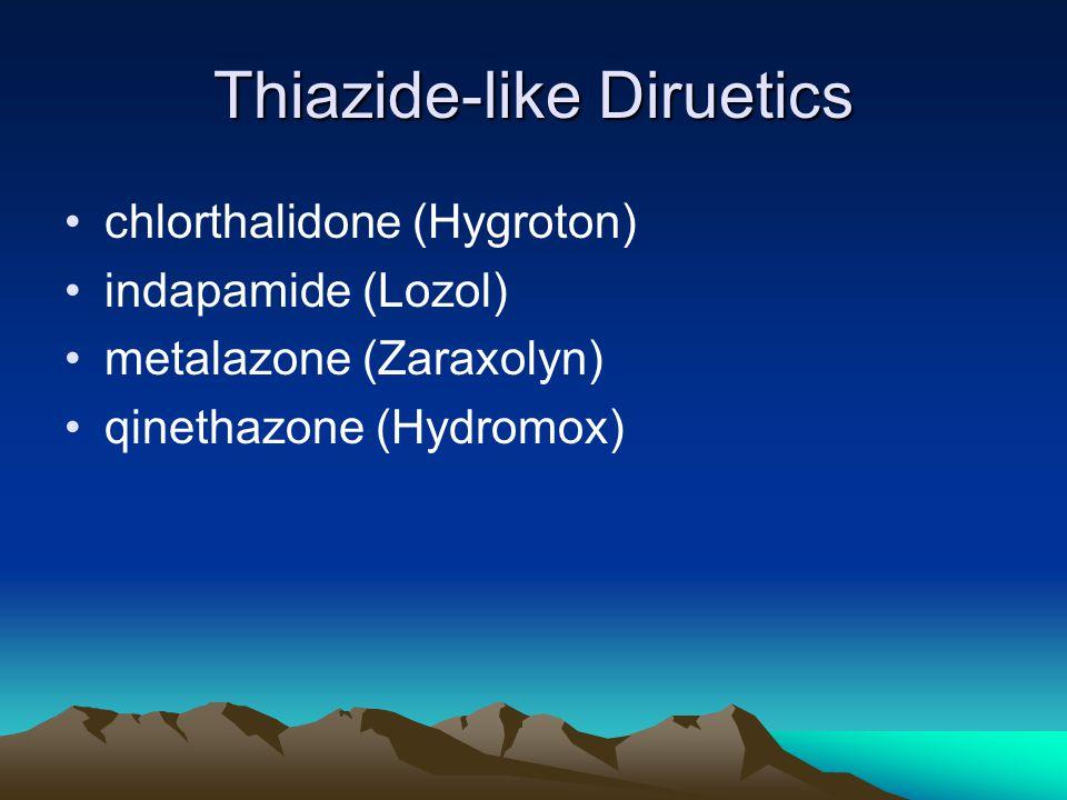 Thiazide-like Diruetics chlorthalidone (Hygroton) indapamide (Lozol) metalazone (Zaraxolyn) qinethazone (Hydromox)