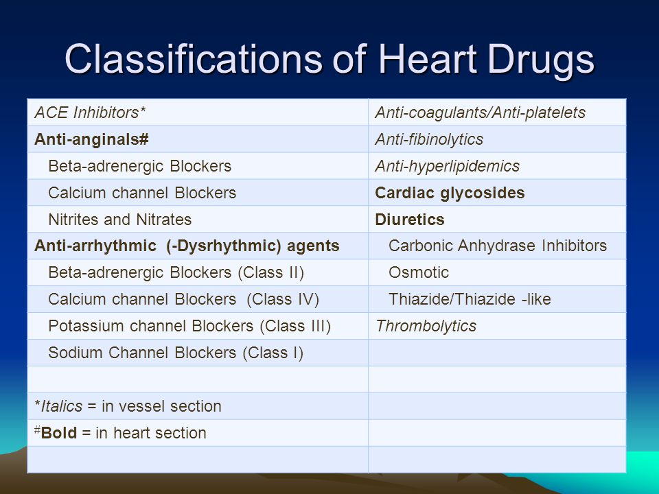 Classifications of Heart Drugs ACE Inhibitors*Anti-coagulants/Anti-platelets Anti-anginals#Anti-fibinolytics Beta-adrenergic BlockersAnti-hyperlipidemics Calcium channel BlockersCardiac glycosides Nitrites and NitratesDiuretics Anti-arrhythmic (-Dysrhythmic) agents Carbonic Anhydrase Inhibitors Beta-adrenergic Blockers (Class II) Osmotic Calcium channel Blockers (Class IV) Thiazide/Thiazide -like Potassium channel Blockers (Class III)Thrombolytics Sodium Channel Blockers (Class I) *Italics = in vessel section # Bold = in heart section