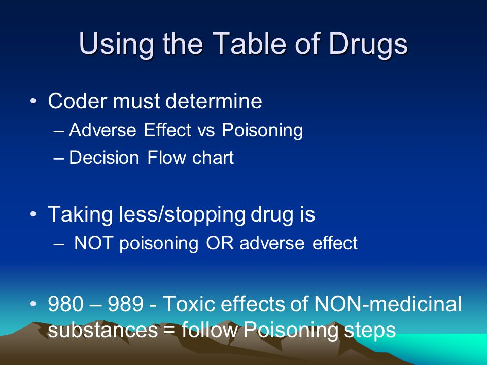 Using the Table of Drugs Coder must determine –Adverse Effect vs Poisoning –Decision Flow chart Taking less/stopping drug is – NOT poisoning OR adverse effect 980 – 989 - Toxic effects of NON-medicinal substances = follow Poisoning steps