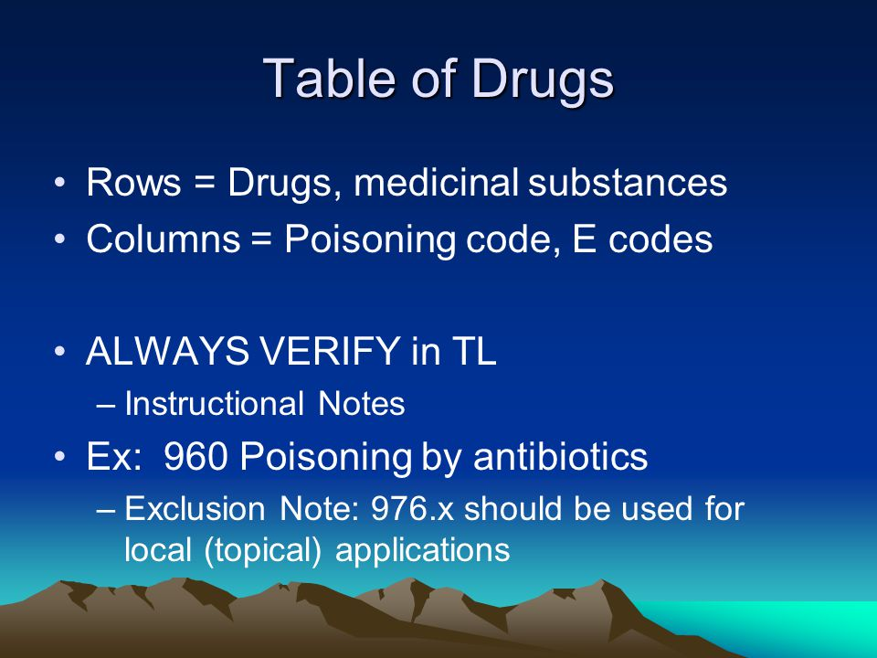 Table of Drugs Rows = Drugs, medicinal substances Columns = Poisoning code, E codes ALWAYS VERIFY in TL –Instructional Notes Ex: 960 Poisoning by antibiotics –Exclusion Note: 976.x should be used for local (topical) applications