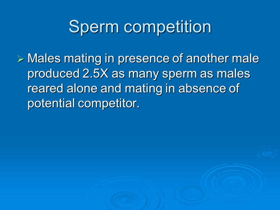 Sperm competition  Males mating in presence of another male produced 2.5X as many sperm as males reared alone and mating in absence of potential comp