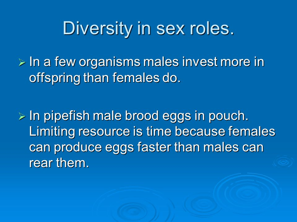 Diversity in sex roles.  In a few organisms males invest more in offspring than females do.  In pipefish male brood eggs in pouch. Limiting resource