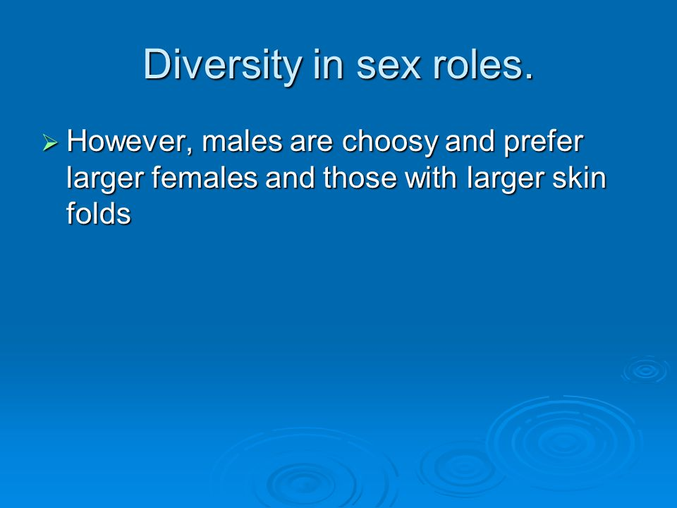 Diversity in sex roles.  However, males are choosy and prefer larger females and those with larger skin folds