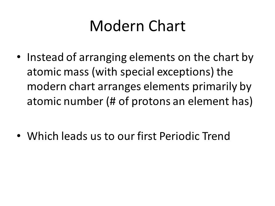 Modern Chart Instead of arranging elements on the chart by atomic mass (with special exceptions) the modern chart arranges elements primarily by atomic number (# of protons an element has) Which leads us to our first Periodic Trend