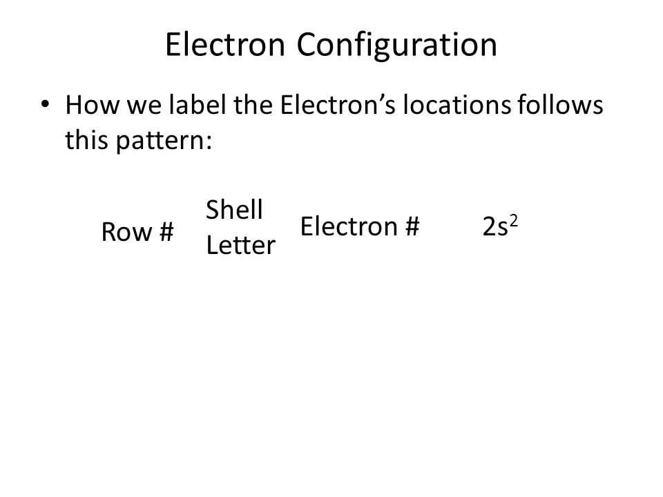 Electron Configuration How we label the Electron's locations follows this pattern: Row # Shell Letter Electron #2s 2