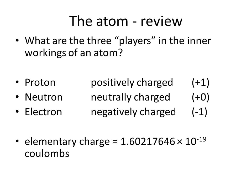 The atom - review What are the three players in the inner workings of an atom.