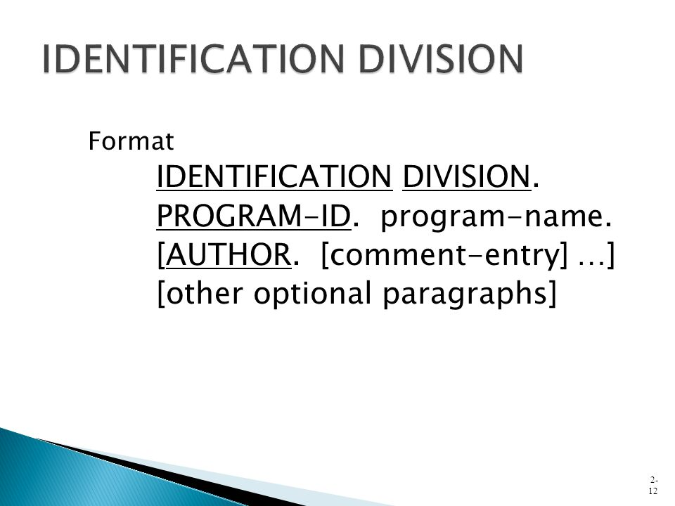 Format IDENTIFICATION DIVISION. PROGRAM-ID. program-name. [AUTHOR. [comment-entry] …] [other optional paragraphs] 2- 12