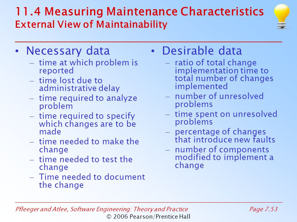 Pfleeger and Atlee, Software Engineering: Theory and PracticePage 7.53 © 2006 Pearson/Prentice Hall 11.4 Measuring Maintenance Characteristics External View of Maintainability Necessary data – time at which problem is reported – time lost due to administrative delay – time required to analyze problem – time required to specify which changes are to be made – time needed to make the change – time needed to test the change – Time needed to document the change Desirable data – ratio of total change implementation time to total number of changes implemented – number of unresolved problems – time spent on unresolved problems – percentage of changes that introduce new faults – number of components modified to implement a change
