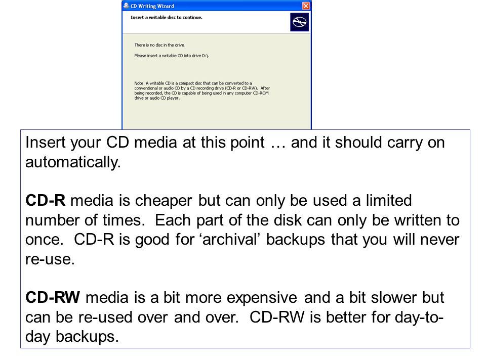 Insert your CD media at this point … and it should carry on automatically.