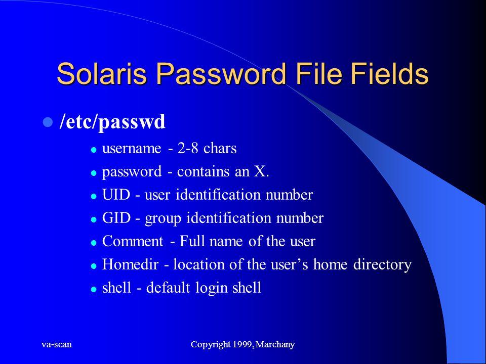 va-scanCopyright 1999, Marchany Solaris Password File Fields /etc/passwd username - 2-8 chars password - contains an X. UID - user identification numb
