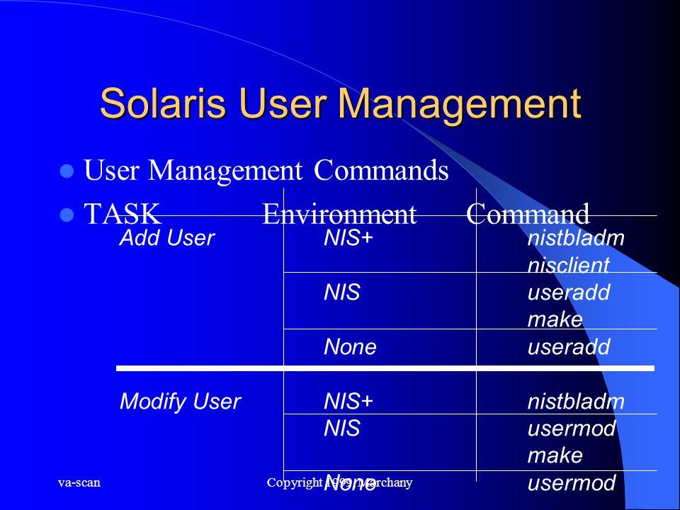 va-scanCopyright 1999, Marchany Solaris User Management User Management Commands TASKEnvironmentCommand Add UserNIS+nistbladm nisclient NISuseradd mak