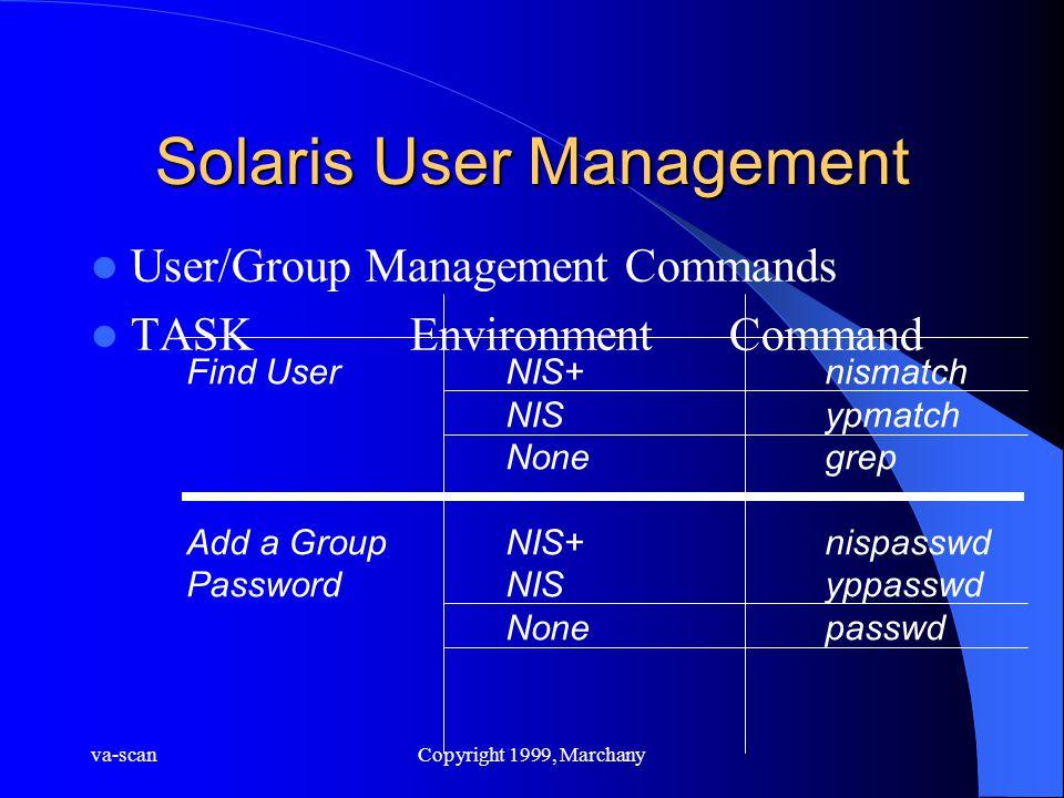 va-scanCopyright 1999, Marchany Solaris User Management User/Group Management Commands TASKEnvironmentCommand Find UserNIS+nismatch NISypmatch Nonegre