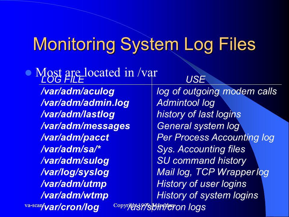 va-scanCopyright 1999, Marchany Monitoring System Log Files Most are located in /var LOG FILEUSE /var/adm/aculoglog of outgoing modem calls /var/adm/a