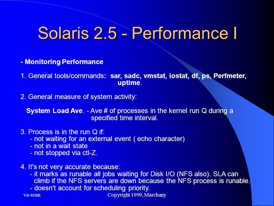 va-scanCopyright 1999, Marchany Solaris 2.5 - Performance I - Monitoring Performance 1. General tools/commands: sar, sadc, vmstat, iostat, df, ps, Per