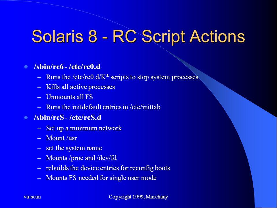 va-scanCopyright 1999, Marchany Solaris 8 - RC Script Actions /sbin/rc6 - /etc/rc0.d – Runs the /etc/rc0.d/K* scripts to stop system processes – Kills