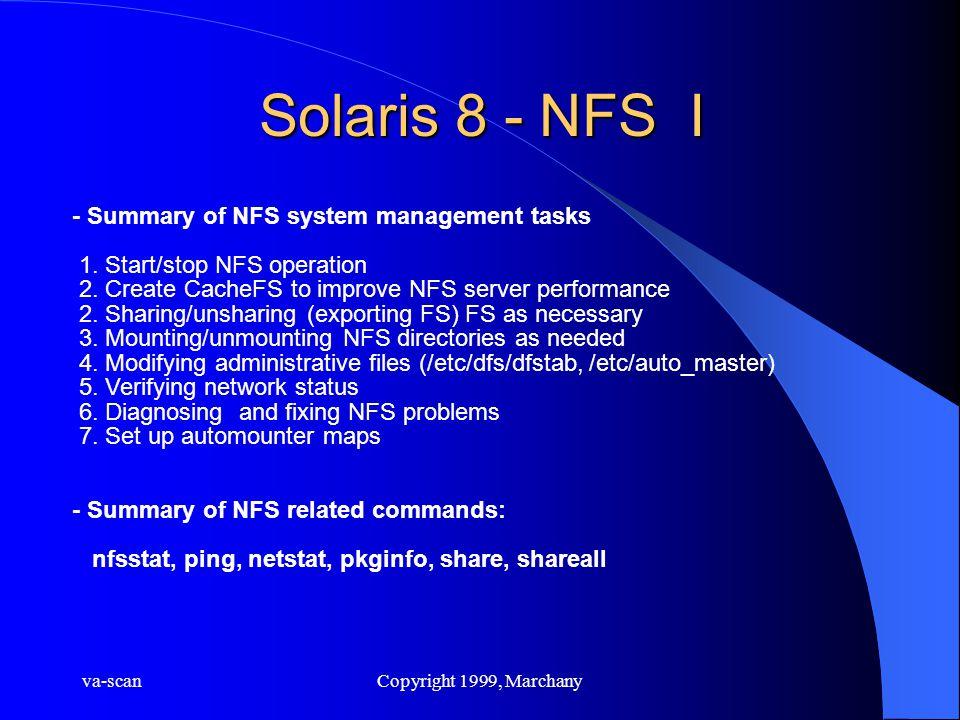 va-scanCopyright 1999, Marchany Solaris 8 - NFS I - Summary of NFS system management tasks 1. Start/stop NFS operation 2. Create CacheFS to improve NF