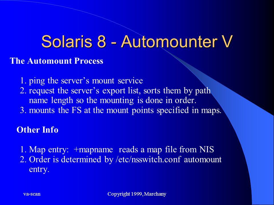 va-scanCopyright 1999, Marchany Solaris 8 - Automounter V The Automount Process 1. ping the server's mount service 2. request the server's export list