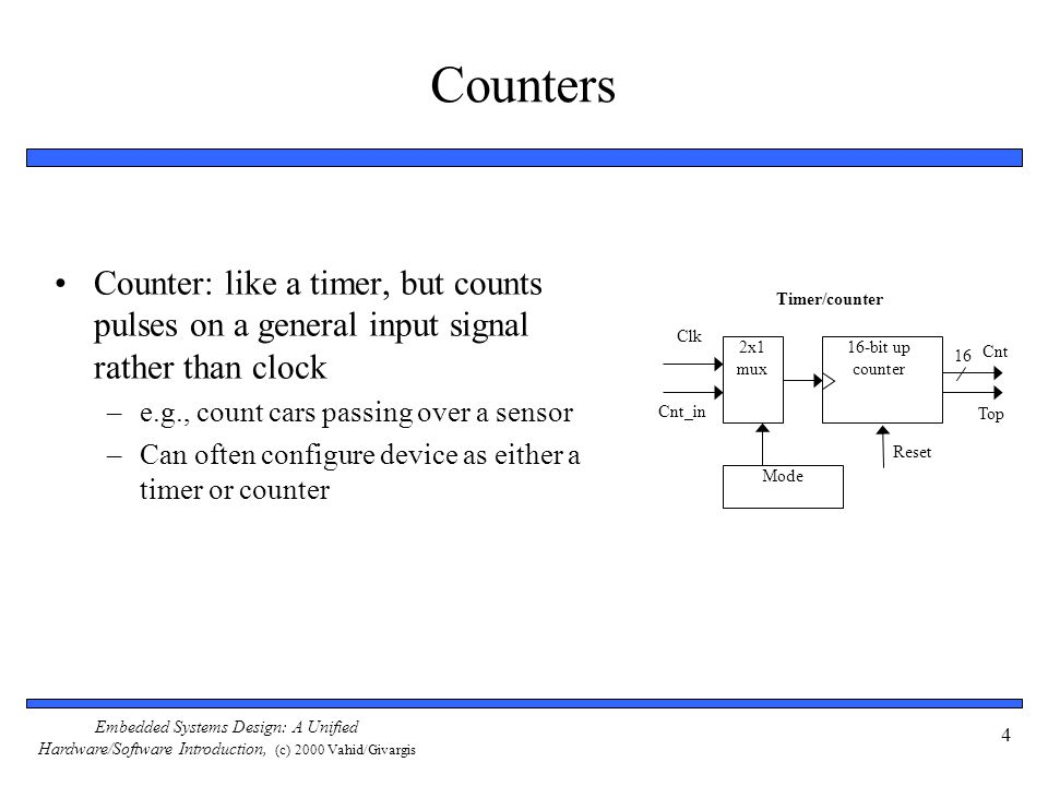 Embedded Systems Design: A Unified Hardware/Software Introduction, (c) 2000 Vahid/Givargis 4 Counters Counter: like a timer, but counts pulses on a general input signal rather than clock –e.g., count cars passing over a sensor –Can often configure device as either a timer or counter 16-bit up counter Clk 16 Cnt_in 2x1 mux Mode Timer/counter Top Reset Cnt