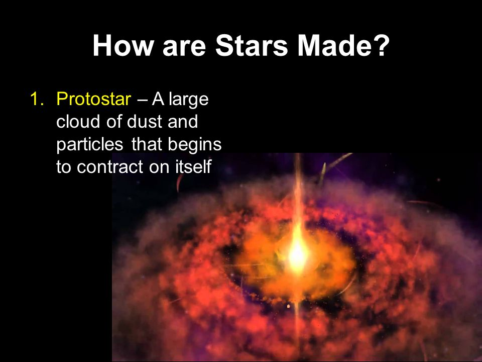 How are Stars Made? Yellow Star  Red Giant High luminosity Smaller in size