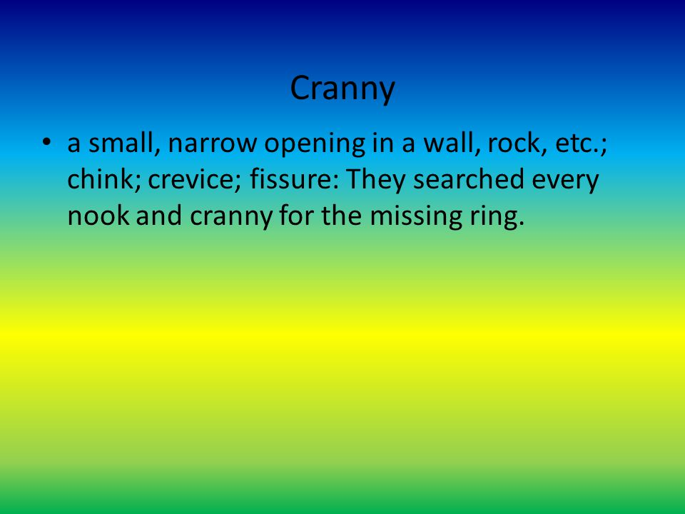 Cranny a small, narrow opening in a wall, rock, etc.; chink; crevice; fissure: They searched every nook and cranny for the missing ring.