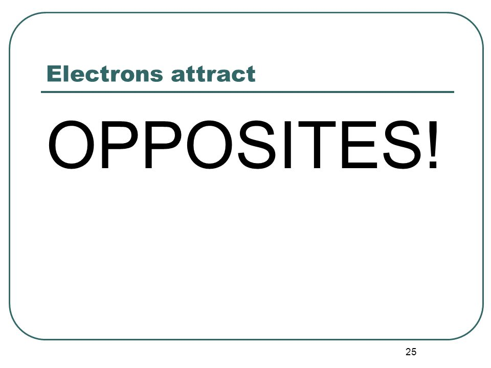 25 Electrons attract OPPOSITES!