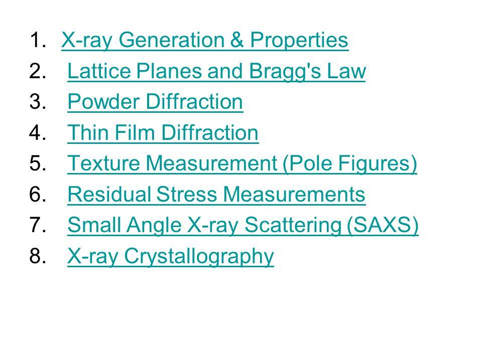 1.X-ray Generation & PropertiesX-ray Generation & Properties 2. Lattice Planes and Bragg's LawLattice Planes and Bragg's Law 3. Powder DiffractionPowd