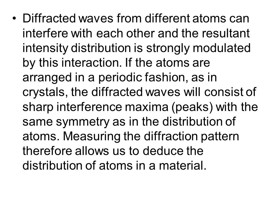 Diffracted waves from different atoms can interfere with each other and the resultant intensity distribution is strongly modulated by this interaction