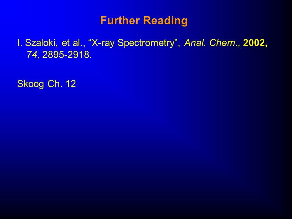 Further Reading I. Szaloki, et al., X-ray Spectrometry , Anal.