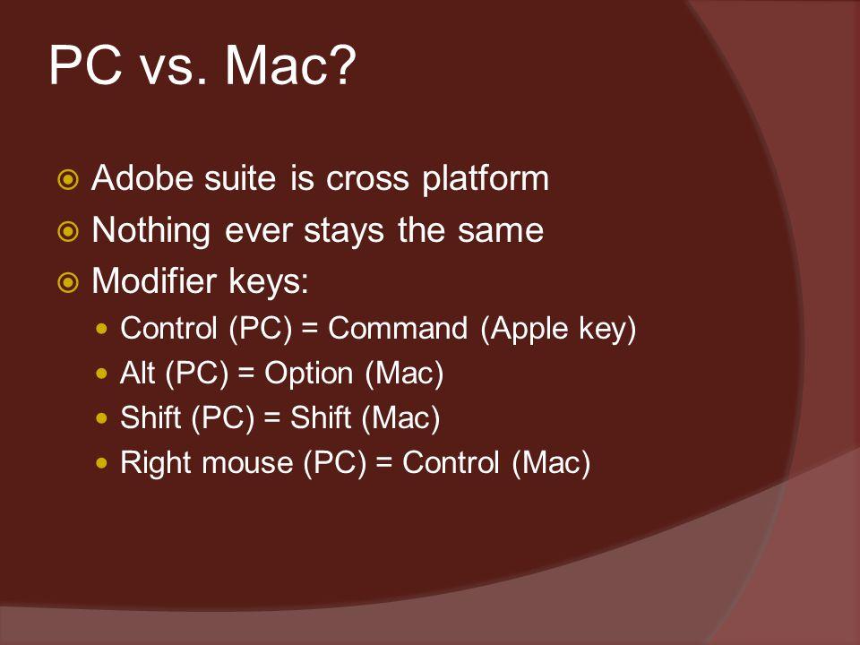 PC vs. Mac?  Adobe suite is cross platform  Nothing ever stays the same  Modifier keys: Control (PC) = Command (Apple key) Alt (PC) = Option (Mac)