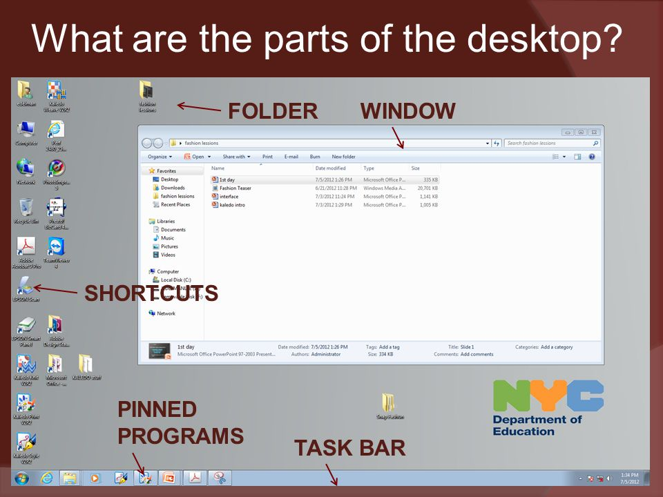 What are the parts of the desktop TASK BAR WINDOWFOLDER PINNED PROGRAMS SHORTCUTS