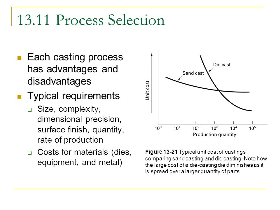 13.11 Process Selection Each casting process has advantages and disadvantages Typical requirements  Size, complexity, dimensional precision, surface