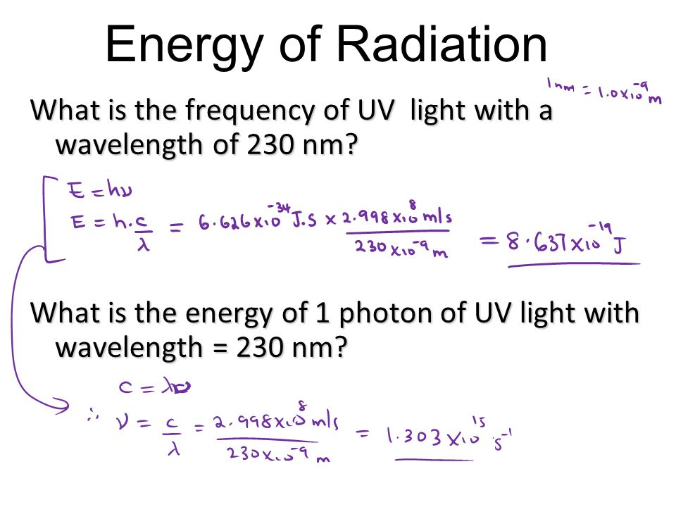 Energy of Radiation What is the frequency of UV light with a wavelength of 230 nm.