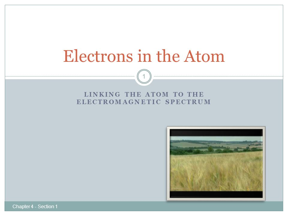 LINKING THE ATOM TO THE ELECTROMAGNETIC SPECTRUM Electrons in the Atom 1 Chapter 4 - Section 1